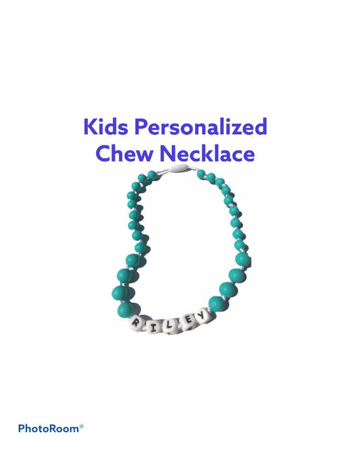 silicone children's chewable teething necklace. Great for children with autism and more.