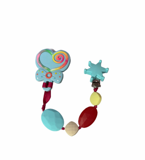 Heart lollipop teething clip