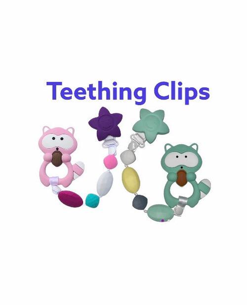 SillyMunk™ Teething Pacifier Clip-  raccoon