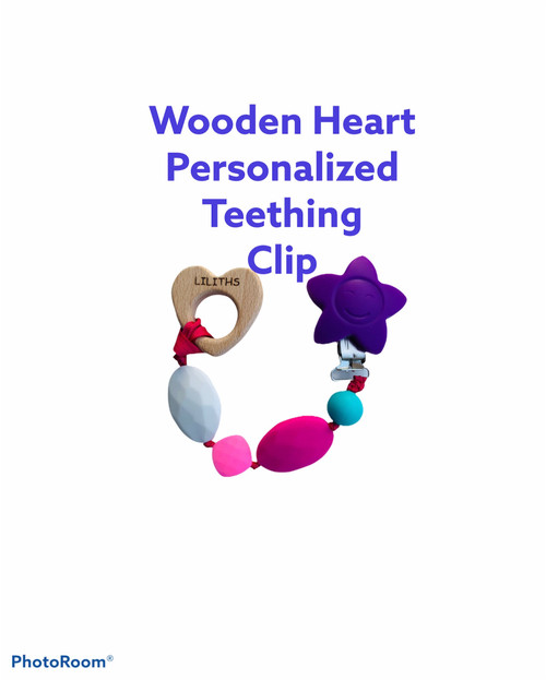 Personalized wooden heart teething  clips.