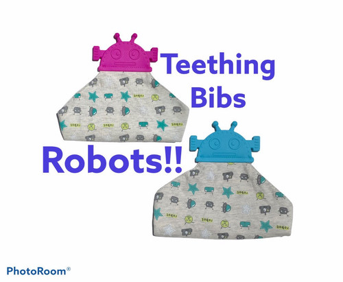 Baby Bib that comes with an attached teether. Great to catch your babies drool and they can teeth on it.