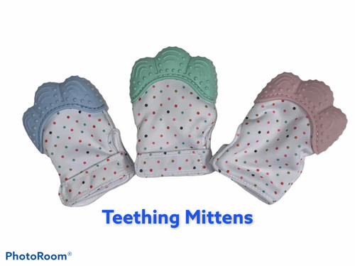 Silicone teething mitten.