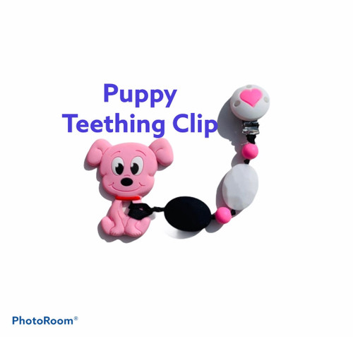 SillyMunk™ Pink Dog chewable Clip