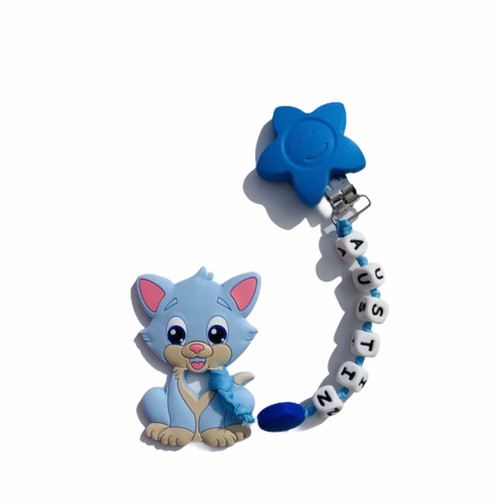 Blue cat personalized teething clip. Can attach to baby so you will never lose a pacifier or teething pendant again.