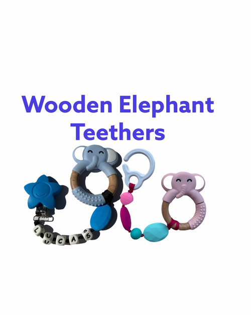 Silicone wooden elephant teething pacifier and teething pendant clip.