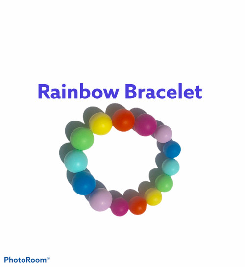 Rainbow silicone teething bracelet