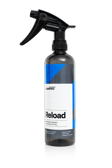 Dark grey 500ml bottle with black trigger sprayer and blue, grey and white label reading CarPro Reload.