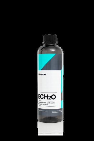 Dark grey 500ml bottle with black trigger sprayer and light blue, dark grey and white label reading CarPro ECH2O.