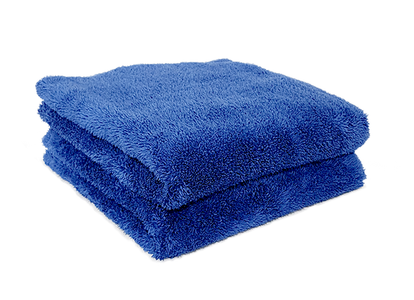 2 blue microfiber towels folded in 4 on top of each other.