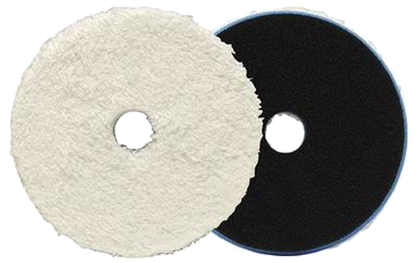 White microfiber pad with black backing.