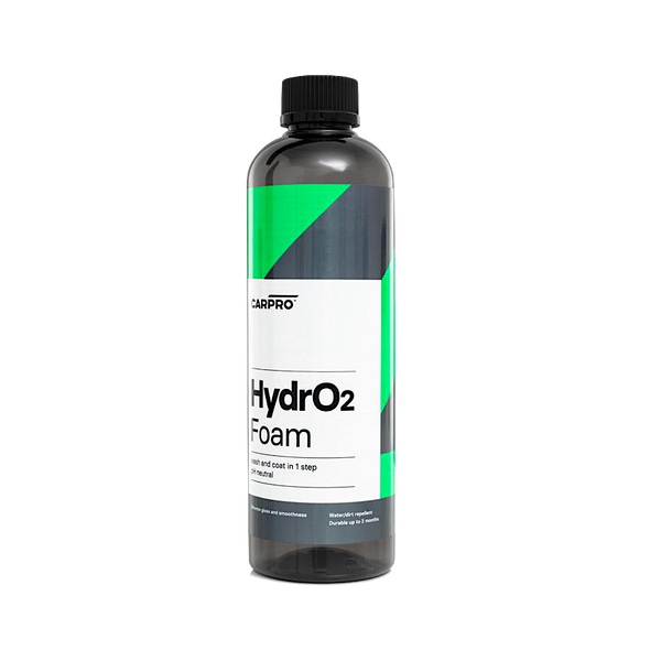 Dark grey 500ml bottle with black trigger sprayer and green, grey and white label reading CarPro Hydro2Foam.