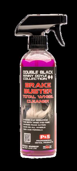 Clear bottle with purple liquid inside.