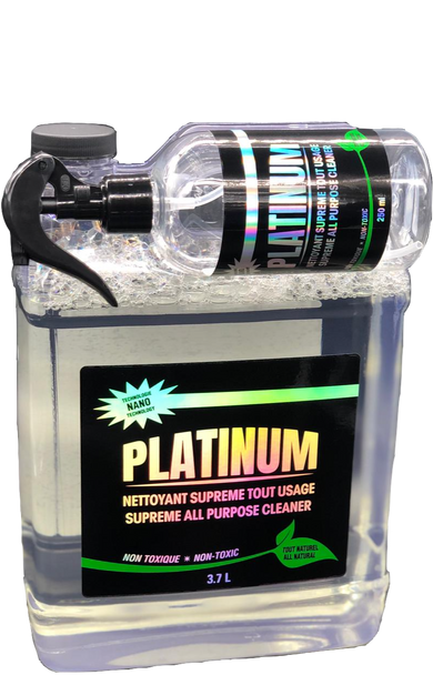 3.7 Litre Clear Bottle with black label and small 250ML bottle stuck horizontally to the top.