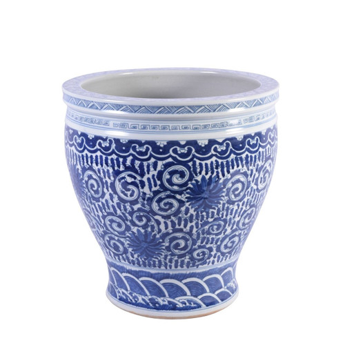 Blue & White Twisted Lotus Bowl Shape Planter - 2 Sizes