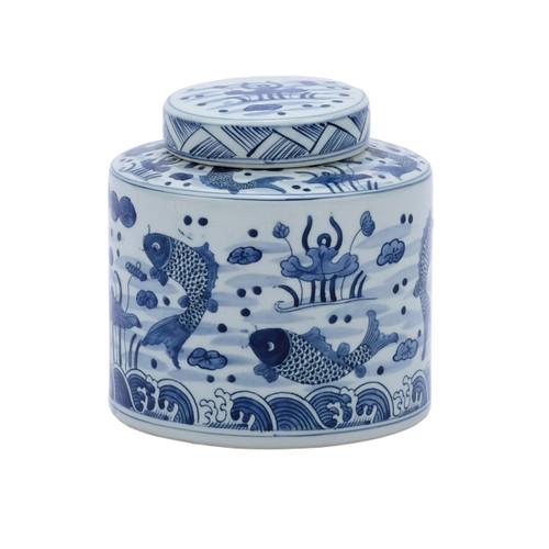Blue & White Fish Cylinder Tea Jar