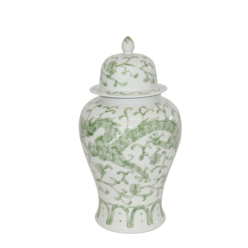 Celadon Dragon Lotus Temple Jar