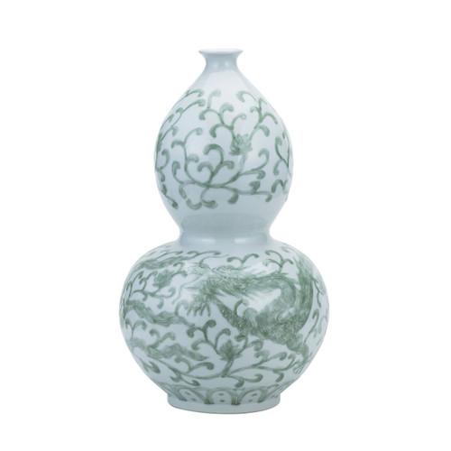 Celadon Dragon Lotus Gourd Vase