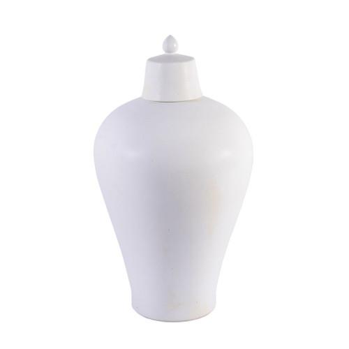 Matte Glaze White Lidded Plum Vase