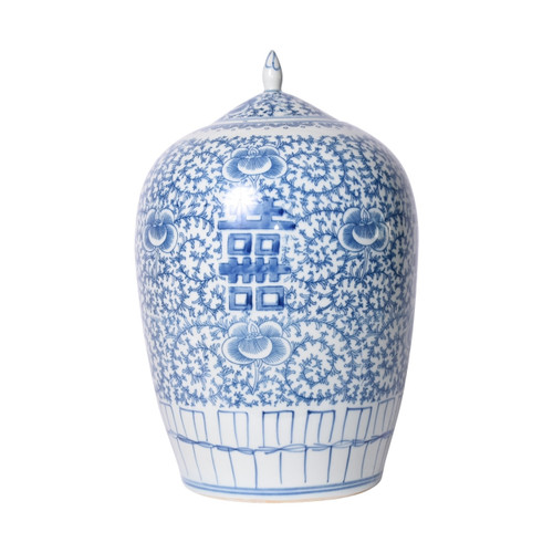 Blue & White Floral Double Happiness Ginger Jar