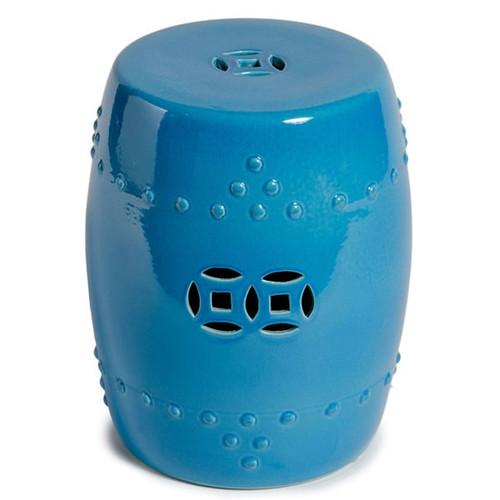 Porcelain Garden Stool - Turquoise Blue