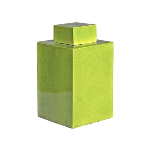 Lime Green Square Tea Jar