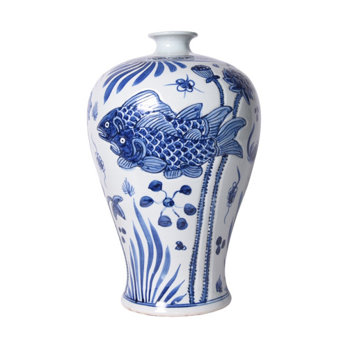 Blue & White Carved Fish Plum Vase