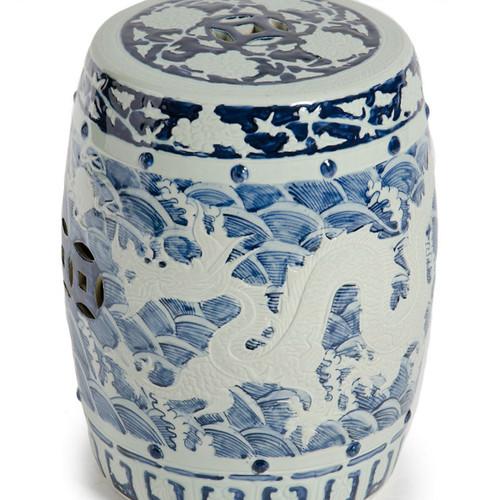Blue & White Carved Dragon Garden Stool