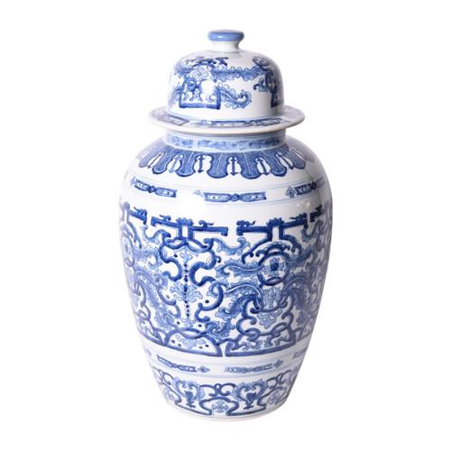 Blue & White Grass Dragon Porcelain Heaven Jar