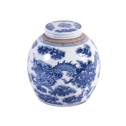 Blue & White Dragon Cloud Ancestor Jar