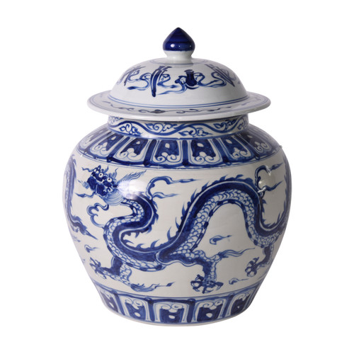 Blue & White Ginger Jar W/ Dragon Motif
