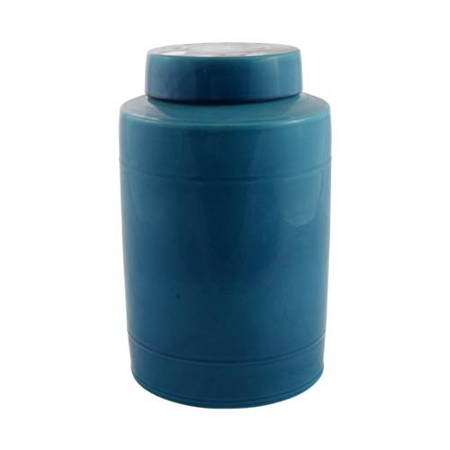 Round Tea Jar 13H - Turquoise
