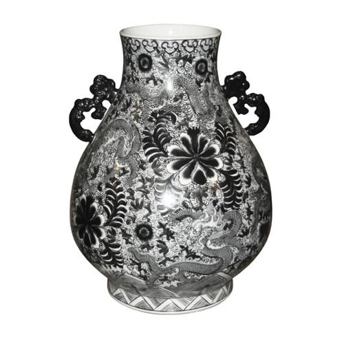 Black Dragon Deer Head Vase