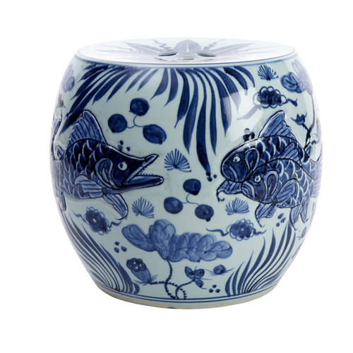 Blue & White Carved Fish Drum Stool