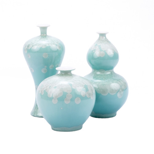 Chinoiserie Green Crystal Shell Vases - Set of 3