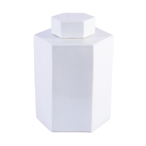 Porcelain Hex Tea Jar Glossy White - 2 Sizes