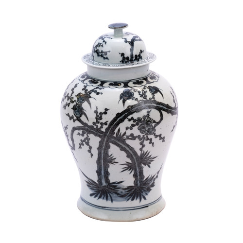 Indigo Porcelain Magpie On Plum Treetop Temple Jar