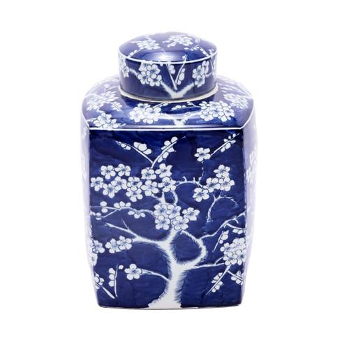 Blue & White Porcelain Square Tea Jar Plum Motif