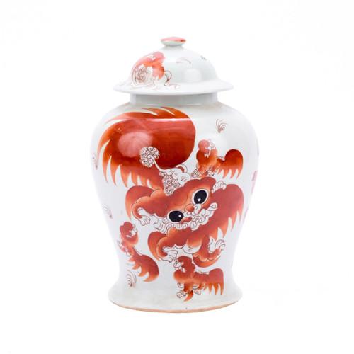 Orange Lion Temple Jar