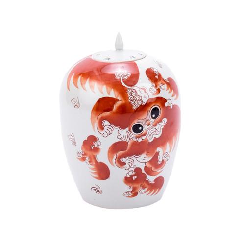 Orange Lion Ginger Jar