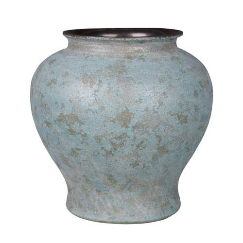 Weathered Bronze Green Crackle Jar - S