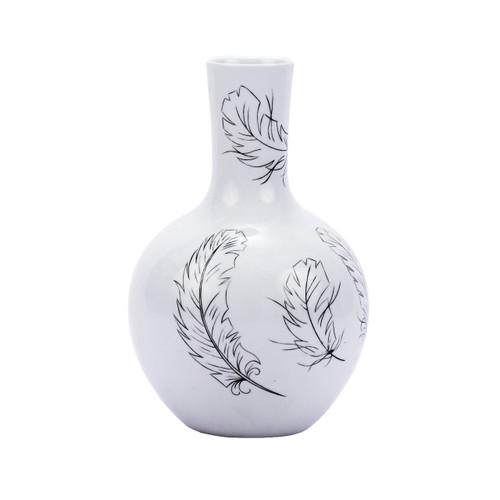 White Globular Vase With Black Feathers