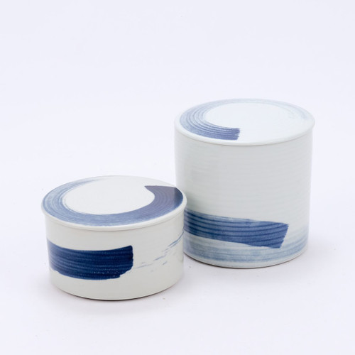 Blue & White Porcelain Brushstroke Lidded Jar - 2 Sizes