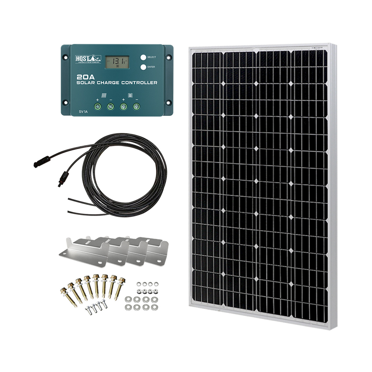 100 Watt 12 Volt Monocrystalline Solar Panel Kit with 20A PWM Charge Controller, Z Bracket, 20FT 12AWG Cable