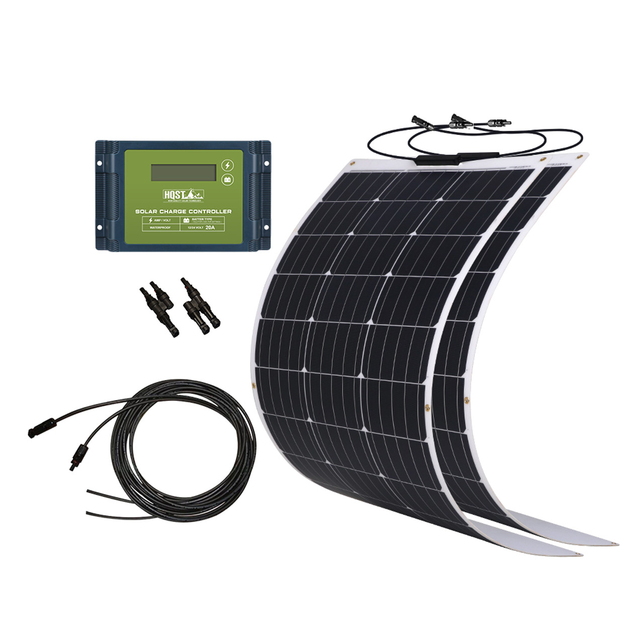 200 Watt 12Volt Flexible Monocrystalline Solar Panel Kit with Waterproof 20A PWM Charge Controller