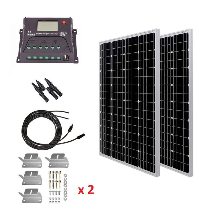 200 Watt Monocrystalline Solar Kit w/ 20A Positive PWM Controller