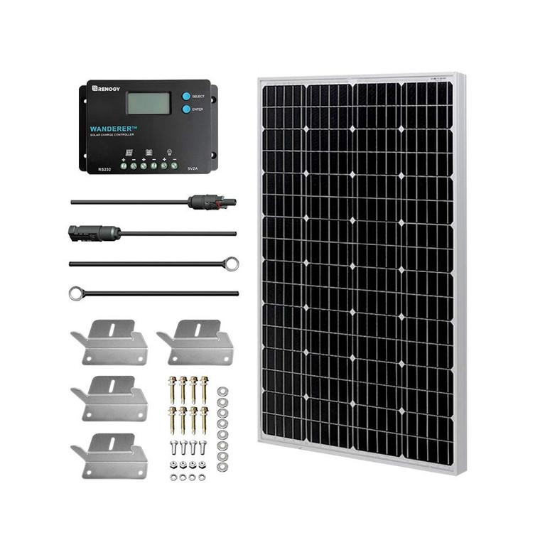 100W Monocrystalline Solar Panel Kit w/ 10A PWM Controller