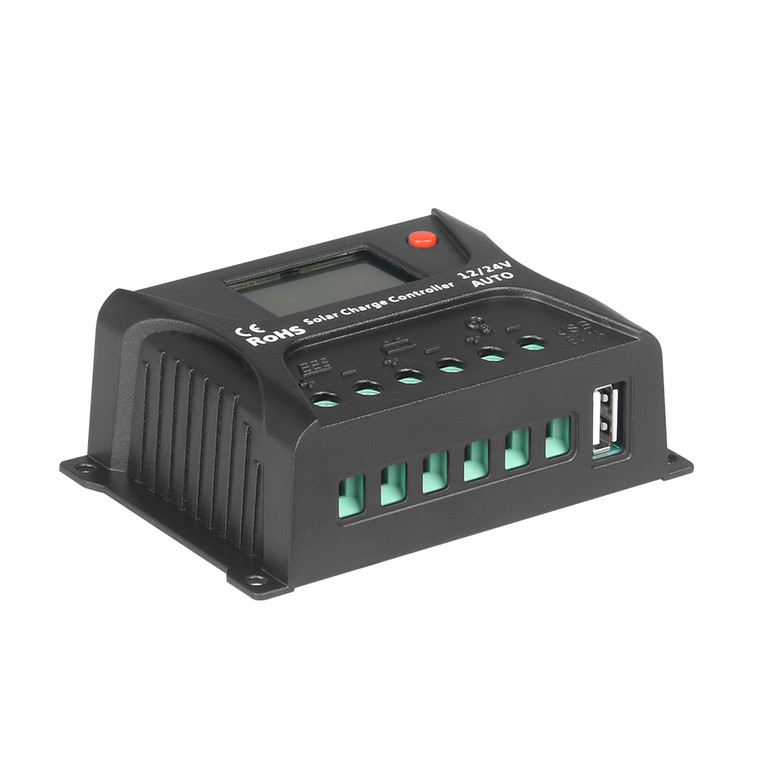 HQST 10Amp 12V/24V PWM Solar Charge Controller Regulator with LCD Display, USB-A Port, Compatible with Sealed, Gel, Flooded Lead-Acid Batteries