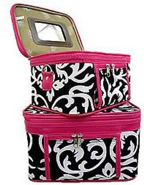 Pink and Black Damask Cosmetic Case