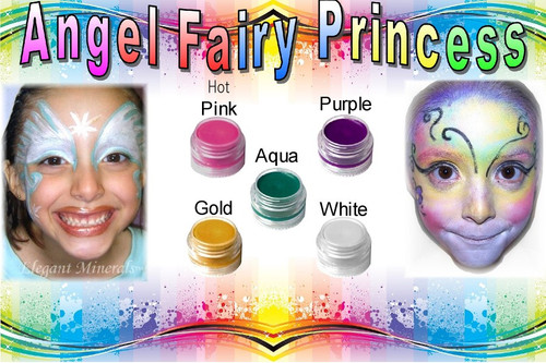 Angel Fairy Princess: White, purple, hot pink, gold, aqua
