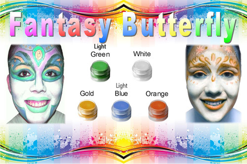 """8pc Natural Face Paint """"Fantasy Butterfly"""" Halloween Costume Makeup Kit"""